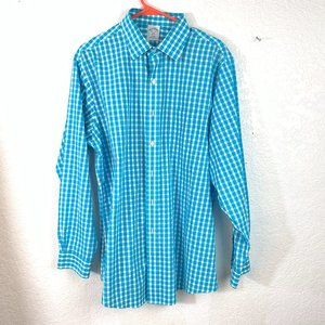 Brooks Brothers 346 Blue Check Button Front Shirt